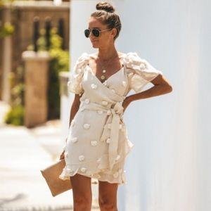 🖤 VICI Pom Pom Puffed Sleeve Mini Dress